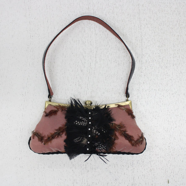 Spencer & Rutherford Small Quirky Occasion Clutch Pink Feather Shoulder Bag #908