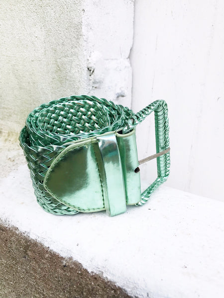 Metallic Belt Woven Mint Green Waisted Jean Accessory Curated by Faye #129