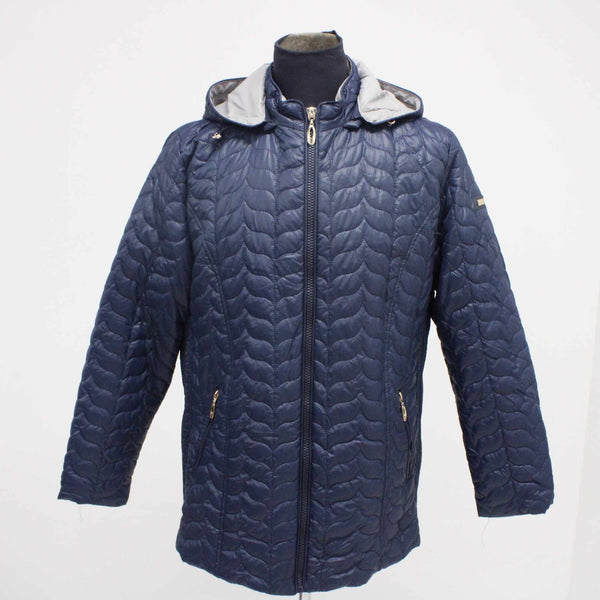 FC MINA Ladies Polyester Jacket Size 52 Blue Large With Detachable Hood #129