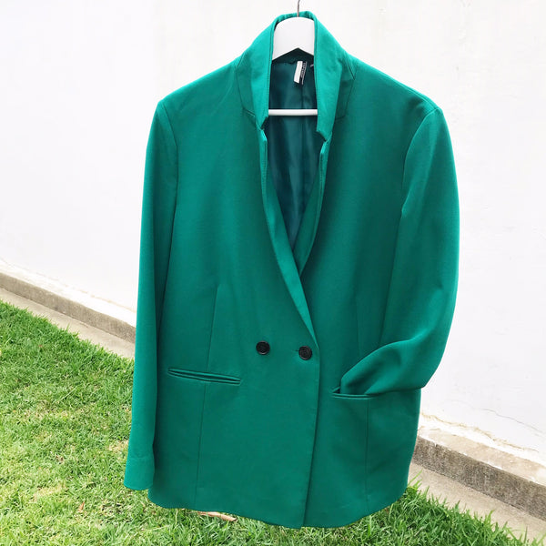 TOP SHOP Womens Size 12 Long Line Blazer Jacket Green Curated by Faye #129