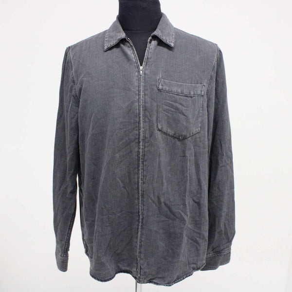 MTWTFSS Weekday Mens Size L Zipped Shirt Broke Faded Grey Long Sleeves #129