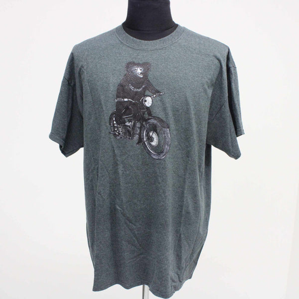 GILDAN Mens Size XL Mens T-Shirt Bear on Motorbike Graphic Print Blue #129