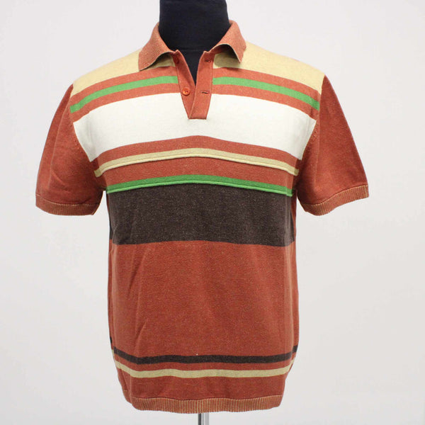 BONIA UOMO Mens Size L Vintage Short Sleeve Knit Polo Shirt Red Striped #129