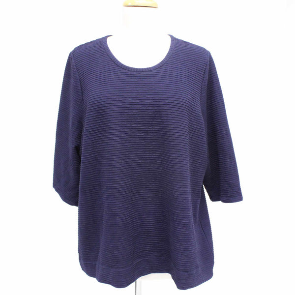 Womens Large Size Navy Tunic Top 3/4 Sleeve Horizontal Rib Detail #129