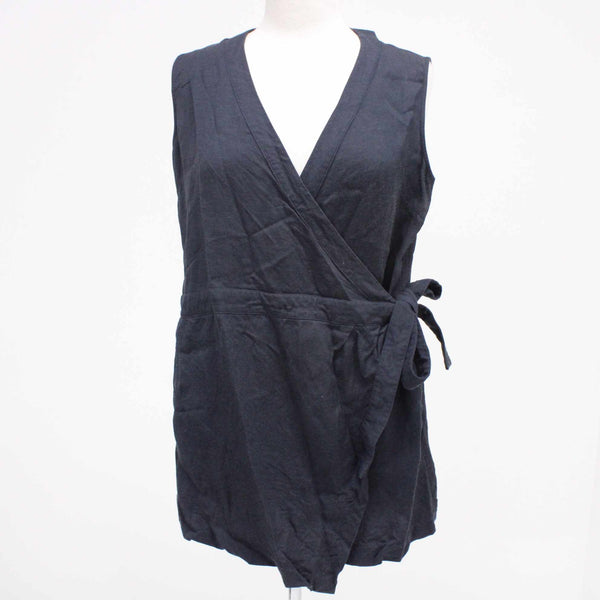 STAPLE THE LABEL Ladies Viscose Linen Tunic Top Wrap Navy Blue Size 14 #129
