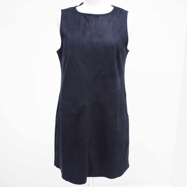 DECJUBA Navy Blue Faux Suede Sleeveless Shift Dress With Pockets Size 14 #129