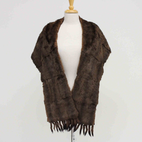 Mink or Stoat or Ermine Fur Stole with Short Black Tipped Tail Tassles #974