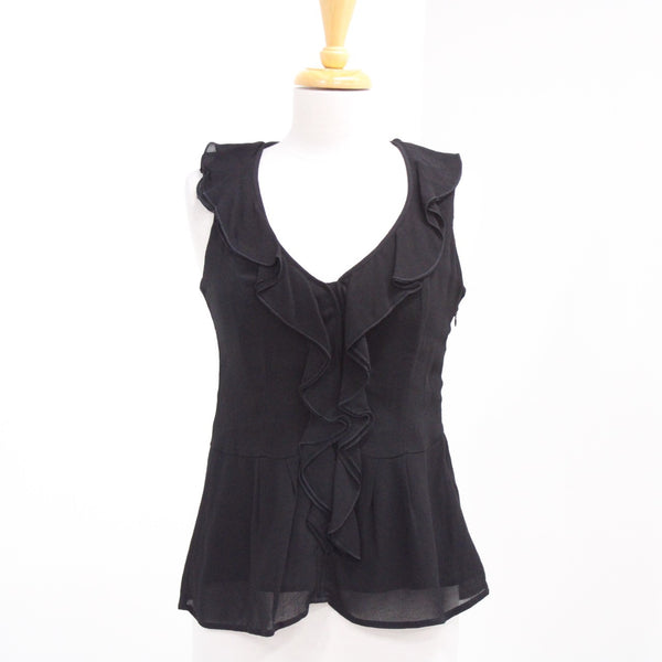 CUE Black Sleeveless Ladies Top Zip Side V-Neck Frill Detail #402