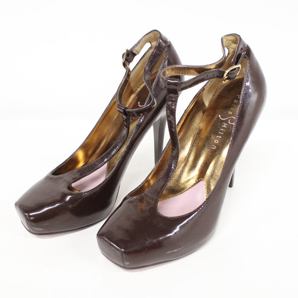 Paris Hilton Brandy Patent Leather High Heels Chocolate T-Strap Size 4.5 #323