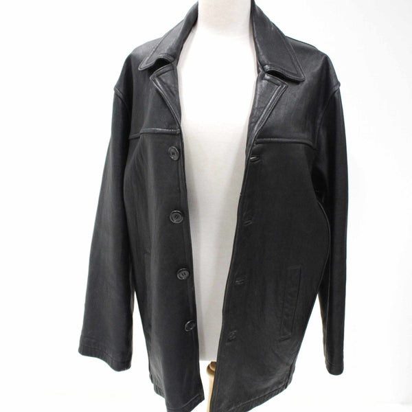 Roger David Mens Black Genuine Leather Sheep Nappa Jacket Size Small #405