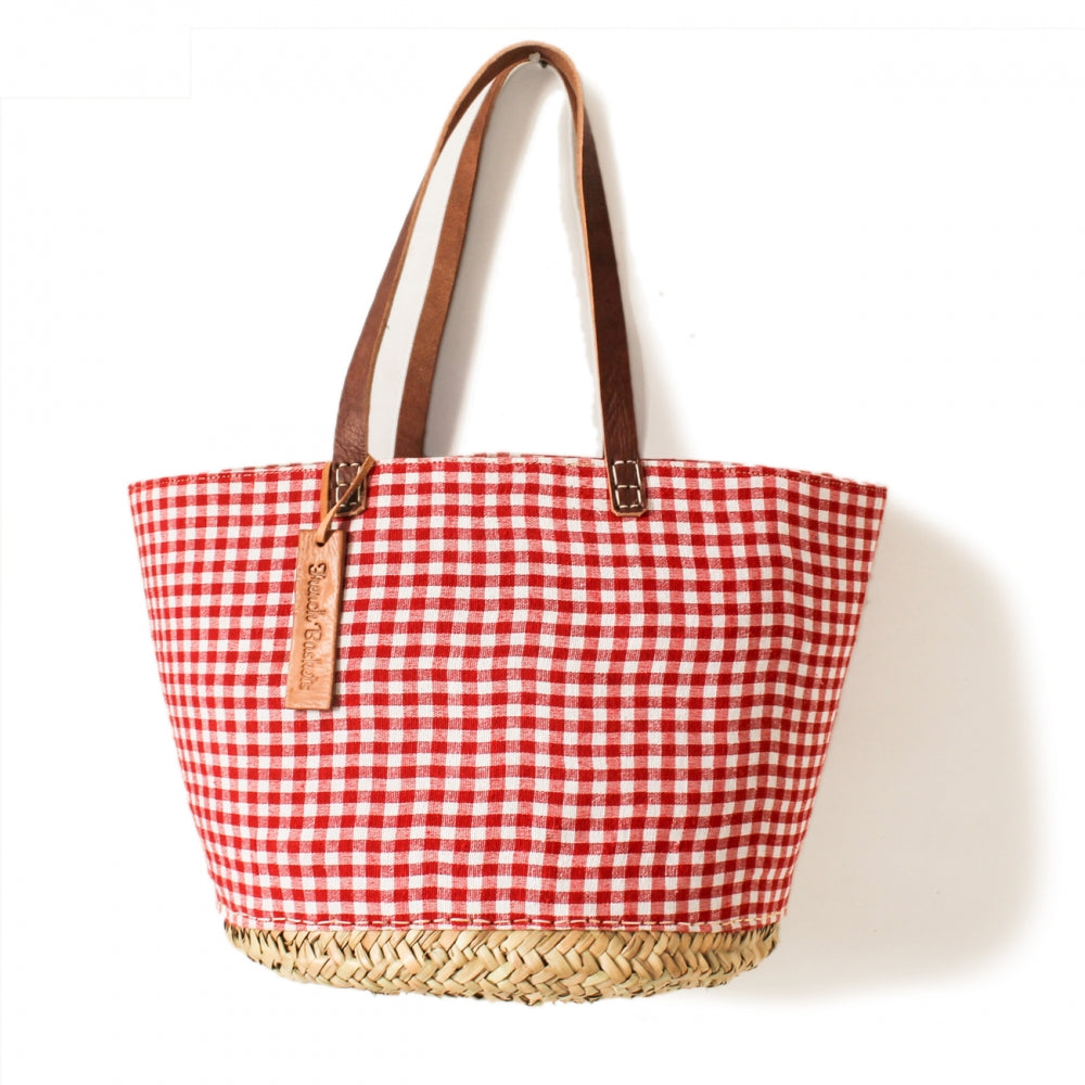 Red Gingham Medium Basket