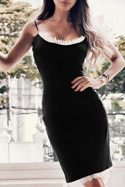 Spaghetti Strap Bodycon Bandage Dress Black