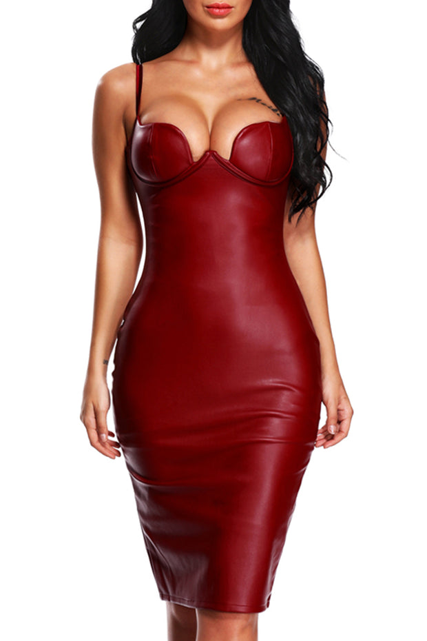 Faux Leather Spaghetti Strap Midi Dress