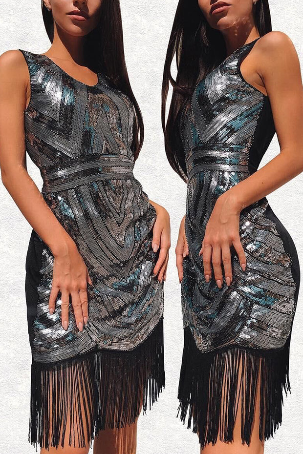 Sleeveless Wave Sequin Fringe Flapper Midi Dress