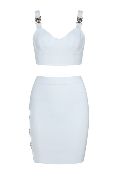 Two-Piece Top And Skirt White Mini Dress