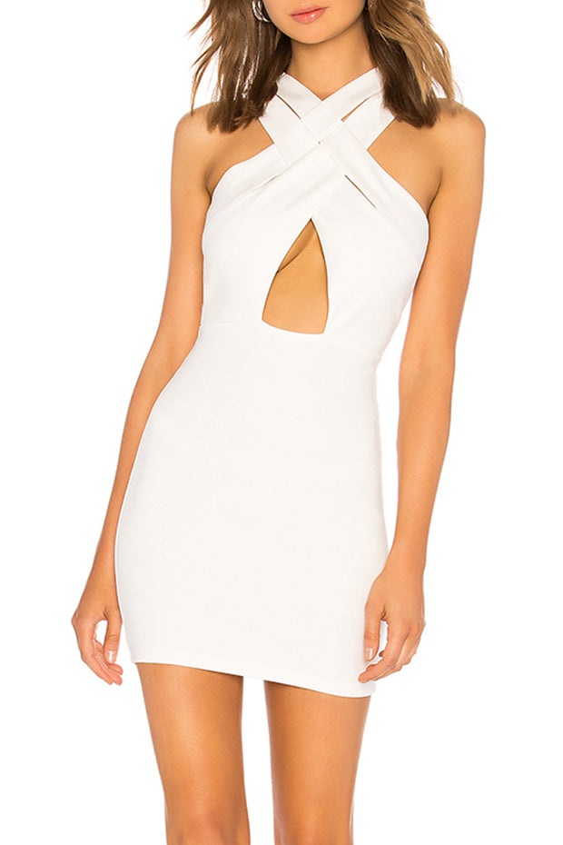 Sleeveless Crossover Cut out Bodycon Mini Dress