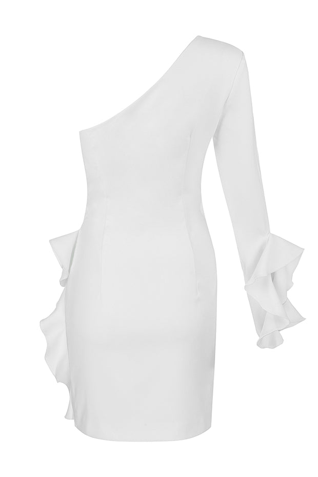 White One Shoulder Long Sleeve Ruffle Mini Party Dress
