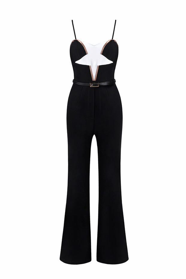 Black Halter Cloak Spaghetti Strap Wide-Leg Women Jumpsuit
