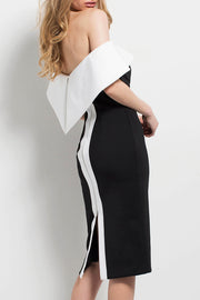 Black And White Off Shoulder Bodycon Midi Dress
