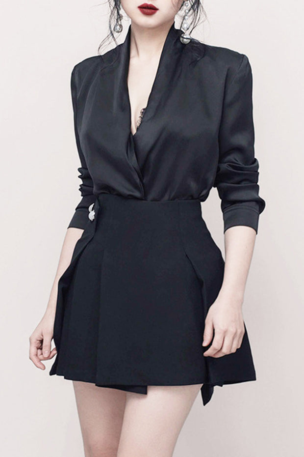 Office Lady Long Sleeve Two Pieces Dress -Black