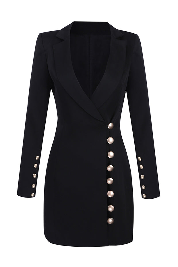 Deep V Long Sleeve Gold Button Detailed Blazer Mini Dress