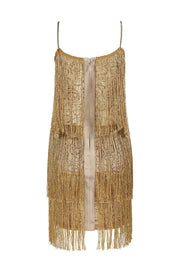 Gold Tassel Detail  Fringe Flapper Bodycon Mini Dress