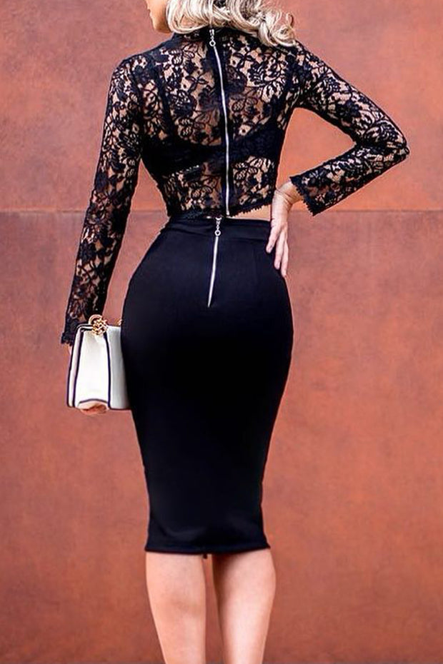Two-Piece Lace Slit Midi Dress