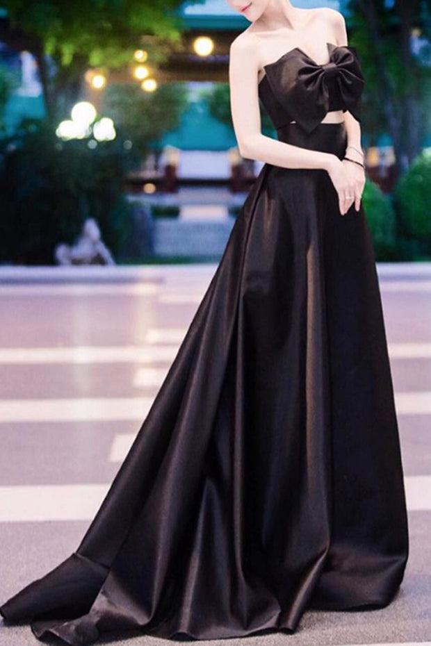 Bow Strapless Party Gown Dress -Black