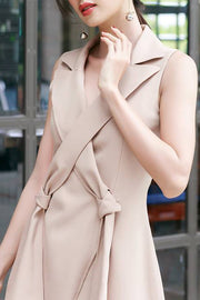 Cross Blazer Bodycon Dress -Apricot