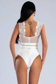 White Cut Out Floral Lace Plunge Bodysuit