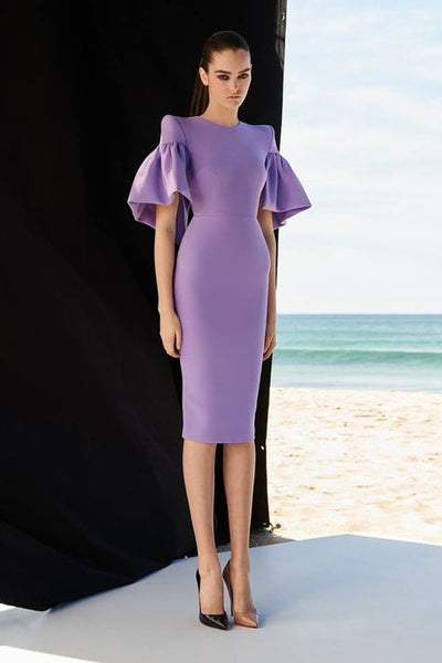 BH5935 Midi Sexy Purple Black Dress