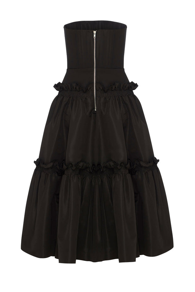 Chic Strapless A-Line Dress -Black
