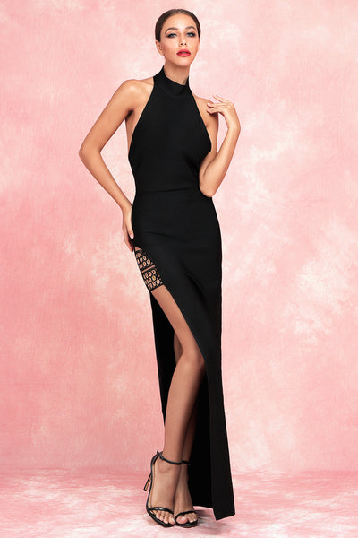 H5730 Black Long Slit  Bandage Bodycon Dress for Women