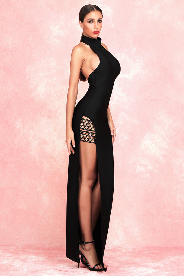 Gaia Halter Slit Bandage Dress-Black