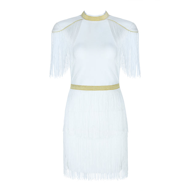 H5755  Midi Club Party Bandage White Dress