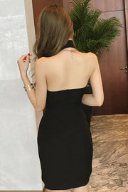 Halter Sleeveless Backless Botton Irregular Hem Dress