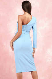 Brenda One Shoulder Crop Dress-Blue