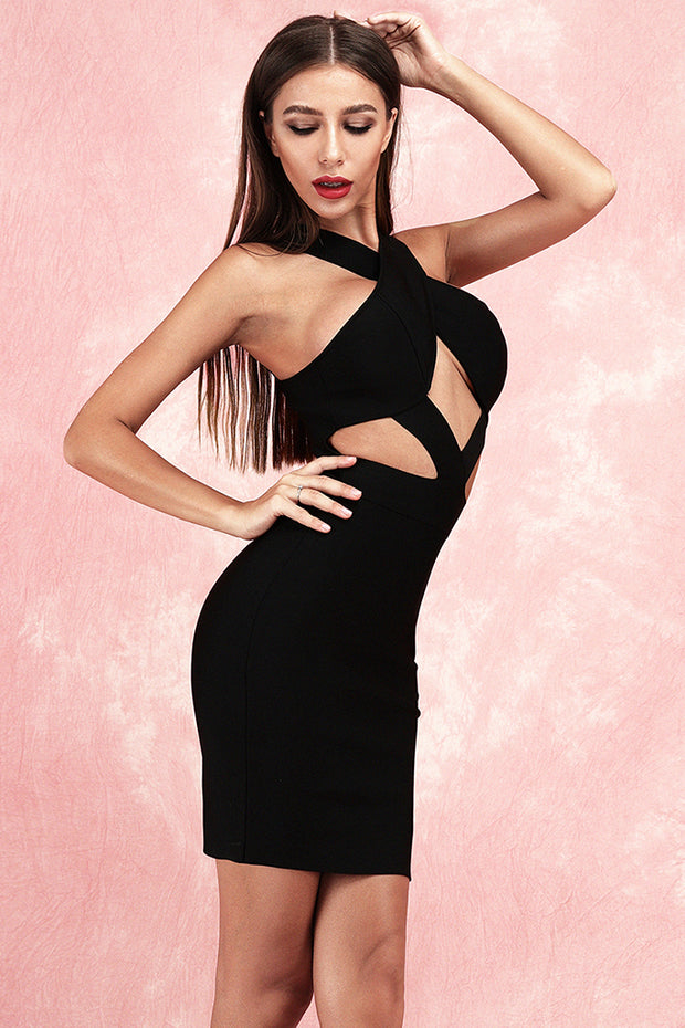 Anelica Cut Out Bandage Dress-Black