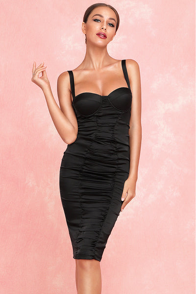 Kaitlyn Ruched Satin Dress-Black