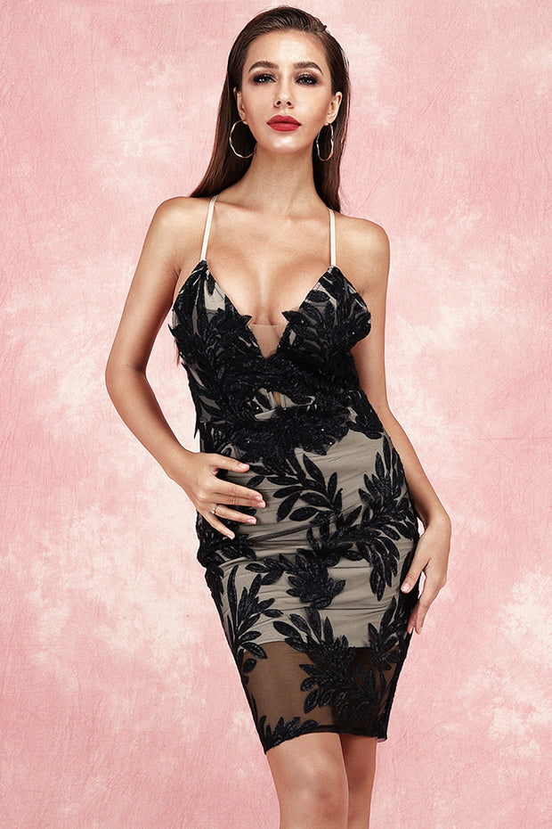 Barbara Lace Bandage Dress-Black