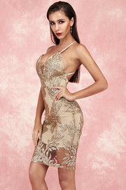 Barbara Lace Bandage Dress-Gold