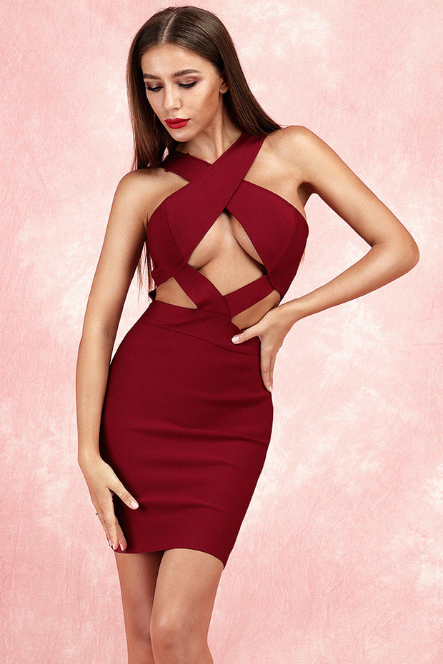Anelica Cut Out Bandage Dress-Claret Red