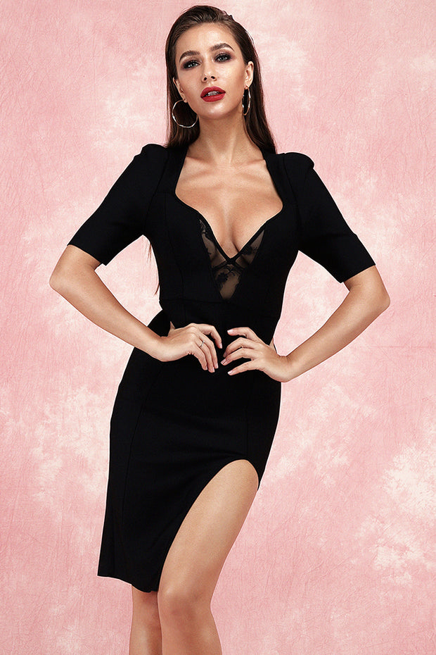 Cally Short Sleeve Bandage Dress-Black