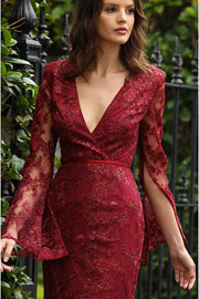 Betsey Lace Flare Sleeve Dress-Claret red