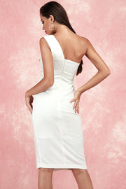 Kaitlyn One Shoulder Dress-White