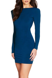 Bessie Backless Bandage Dress-Blue
