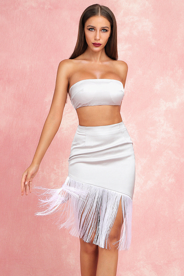 Isobel Top And Fringe Skirt-White