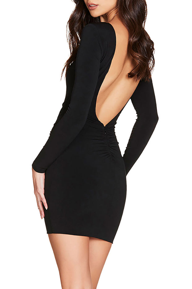 Bessie Backless Bandage Dress-Black