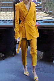 Dulcie Sash Two Piece Set Pantsuits-Yellow
