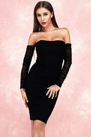 Cally Off Shoulder Bandage Dress-Black